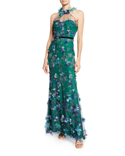 6d7c33cfd3 Printed Tulle Illusion Halter Gown with 3D Flower Degrade Quick Look. Marchesa  Notte