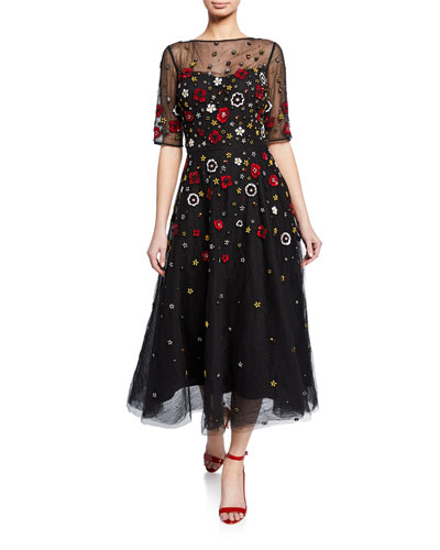 cc3ef209d60 Beaded 3D Floral Embroidered Midi Tulle Dress Quick Look. Rickie Freeman  for Teri Jon