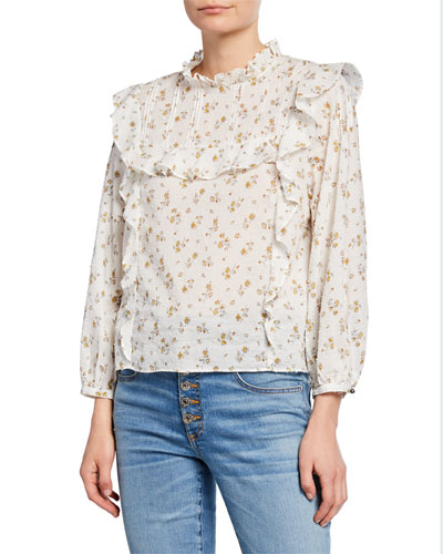 Beth Ruffled Floral Cotton Blouse