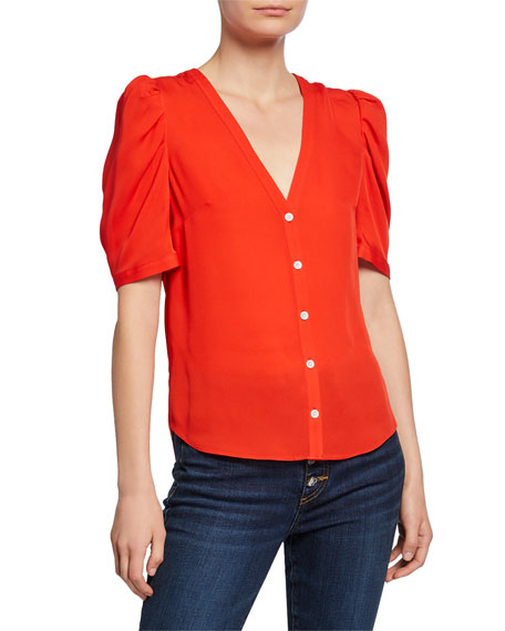Garland V-Neck Button-Front Silk Blouse