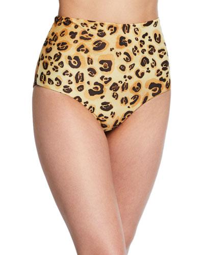 Lydia High-Waist Cheetah-Print Bikini Bottoms