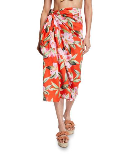 Izzi Printed Wrap Skirt Coverup