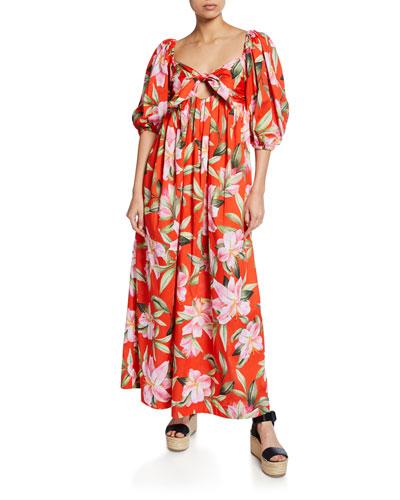 Violet Floral-Print Tie-Front Organic Cotton Maxi Dress