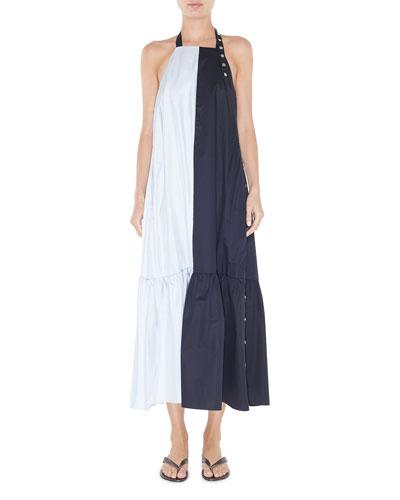 Tech Poplin Colorblock Long Dress