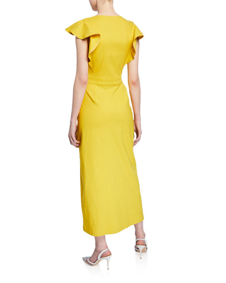 Walker Flutter-Sleeve Wrap Dress