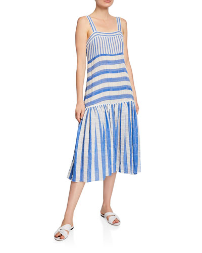 Striped Drop-Waist Sleeveless Long Dress