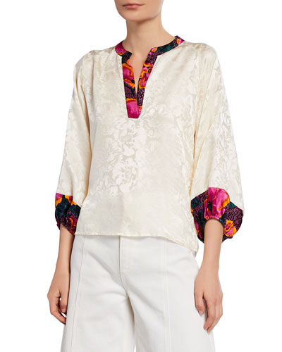 Floral-Jacquard V-Neck 3/4-Sleeve Silk Top