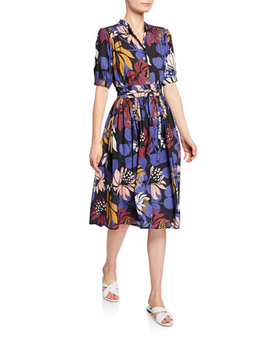 Floral-Print Short-Sleeve Tie-Waist Shirtdress