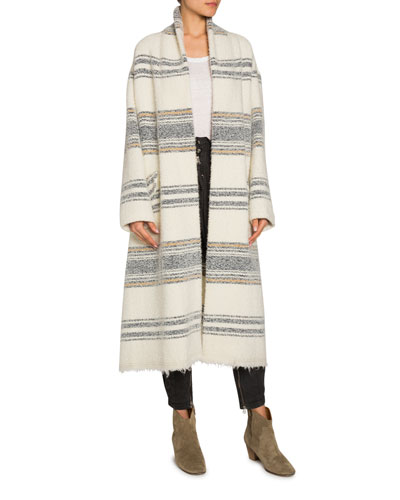 Faby Striped Wool-Alpaca Long Coat
