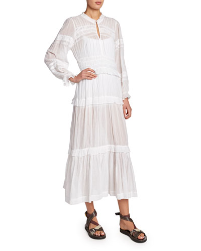 Likoya Tiered Cotton Long-Sleeve Dress