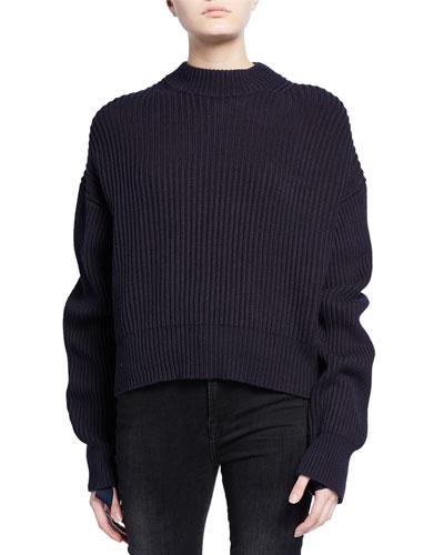 Wool/Cotton Ribbed Crewneck Sweater
