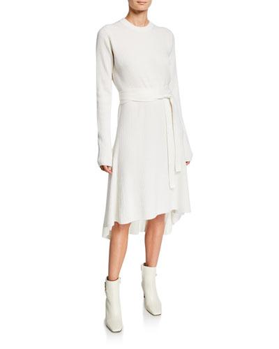 525b27989b9b Crewneck Long-Sleeve Ribbed High-Low Dress Quick Look. Helmut Lang