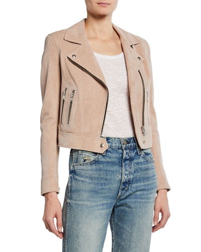 Dembey Cropped Suede Moto Jacket