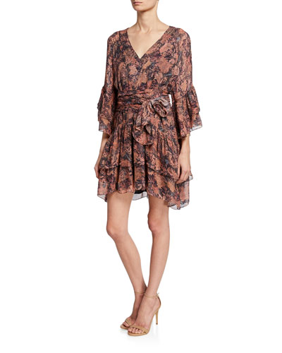 Vanille Printed Tiered Ruffle Dress
