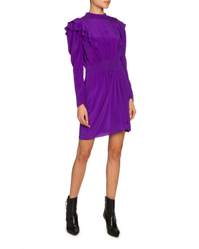 Yoana Long-Sleeve Ruffle Short Dress