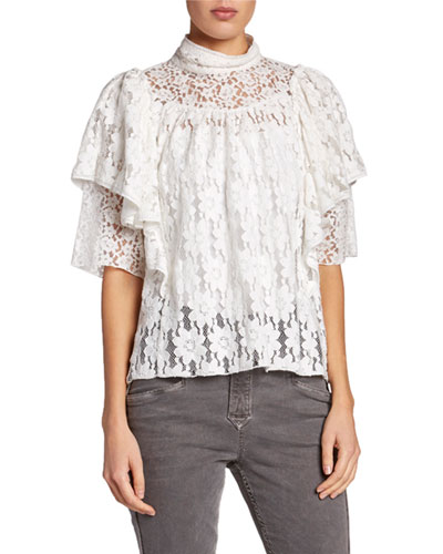 Vetea High-Neck Tiered Lace Ruffle Top