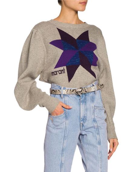 Kyall Blouson-Sleeve Logo Pullover Sweater