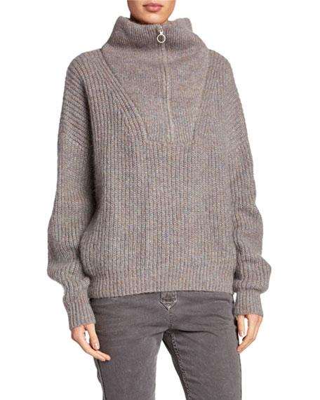 Myclan Zip-Front Turtleneck Sweater