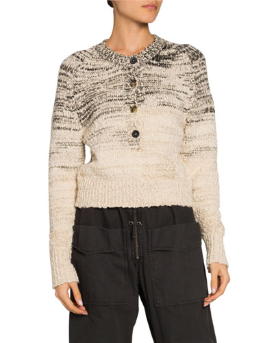 Patty Button-Front Crewneck Sweater