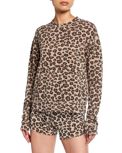 Leopard-Print Seamed Sweatshirt