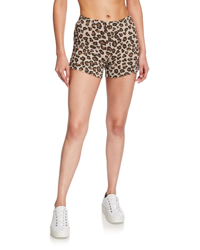 Leopard-Print Elastic Waist Shorts