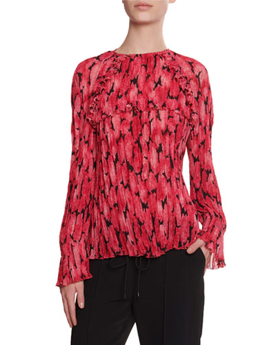 Pleated Long-Sleeve Printed Blouse