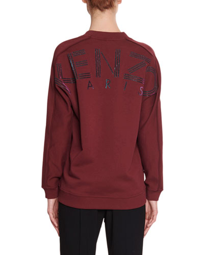V-Neck Pullover Sweatshirt with Glitter Logo