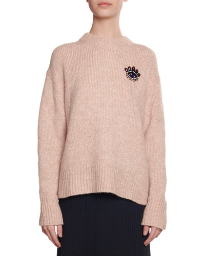 Beaded Eye Mohair Pullover Sweater