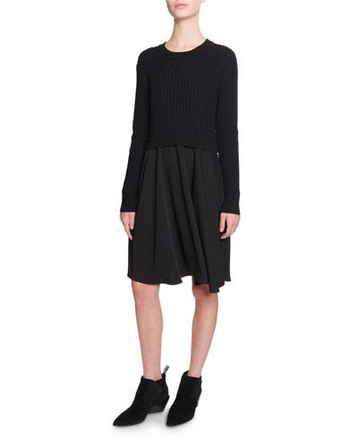 Mixed-Knit Long-Sleeve Dress
