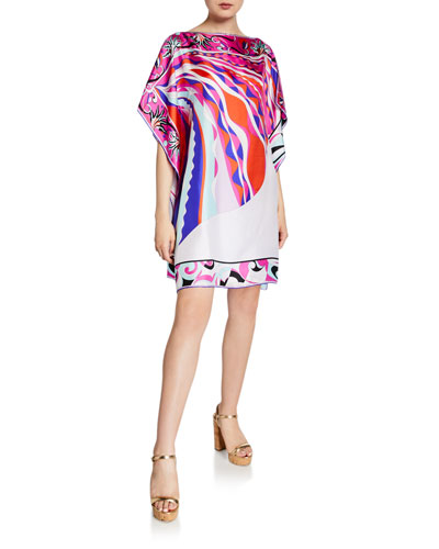 Printed 1/2-Sleeve Silk Short Dress