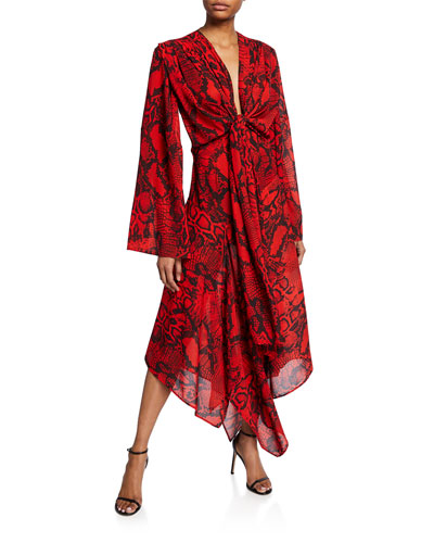 Nelli Tie-Front Snake-Print Long Dress