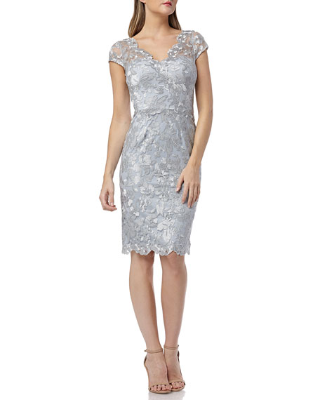 Metallic Embroidered V-Neck Cap-Sleeve Cocktail Dress