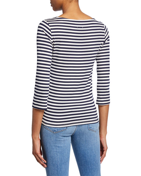 Lucy Boat-Neck Striped Shirt