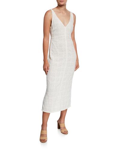 Prim Textured Viscose Sleeveless Dress