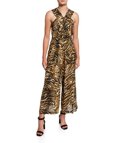 Ines Animal-Print Zip-Front Jumpsuit