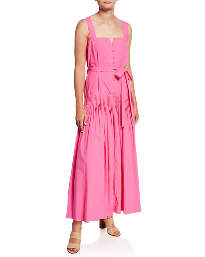 Chancery Button-Front Sleeveless Long Dress