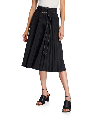 Parachute Belted Pleated A-Line Midi Skirt