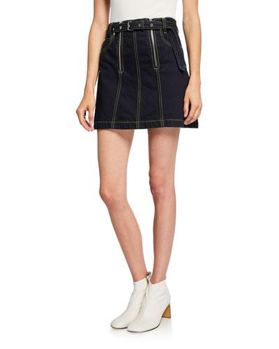 Front Zip Rigid Denim Belted Mini Skirt