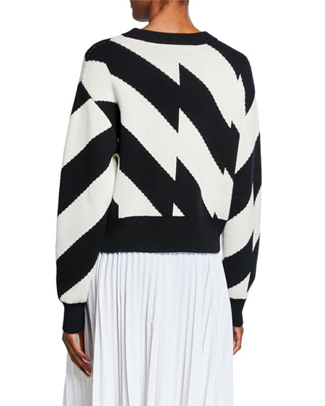 Striped Long-Sleeve Wool/Cotton Sweater
