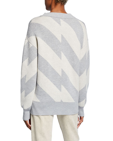 Striped V-Neck Button-Front Wool/Cotton Cardigan