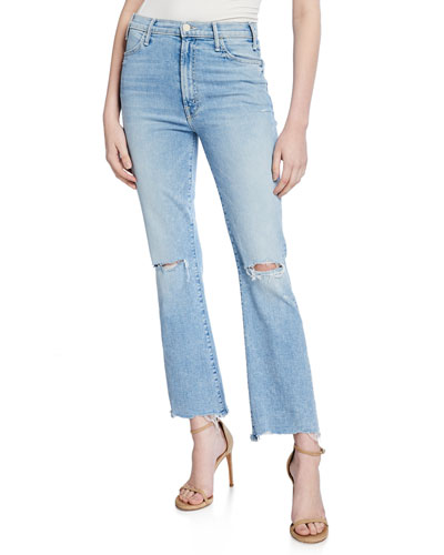 The Hustler Distressed Ankle Chewed-Hem Jeans
