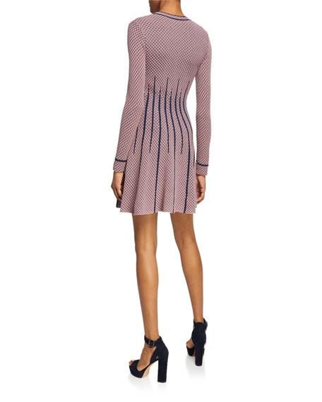 Long-Sleeve Mini A-Line Dress w/ Waist Detail