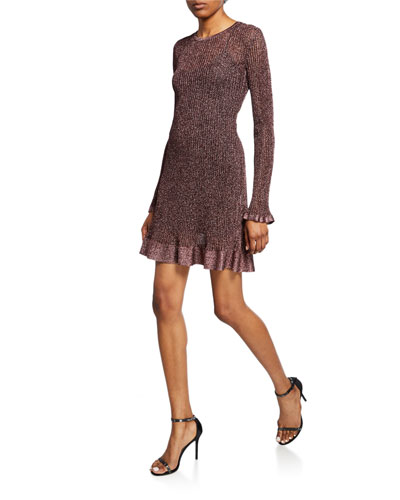 Metallic Long-Sleeve Short Ruffle Dress