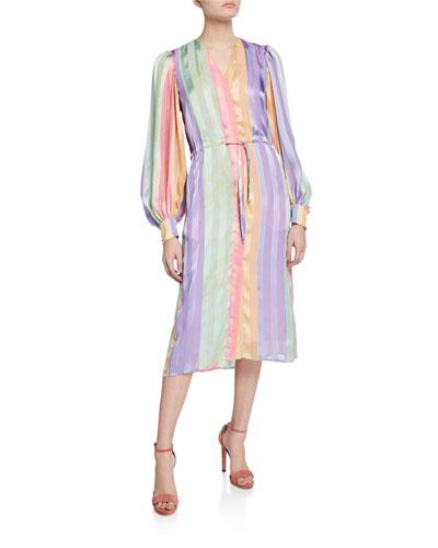 Violet Striped Long-Sleeve Dress