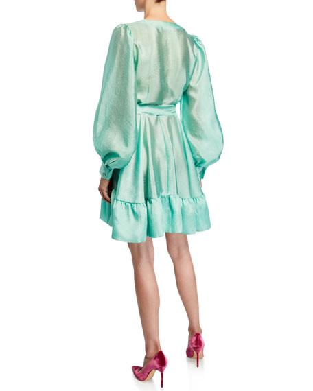 Farrow Button-Front Satin Tie-Waist Dress