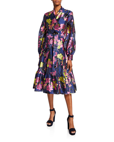 Niki Floral Long-Sleeve Wrap Dress