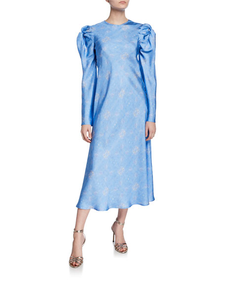 Love Me Knot Printed Long-Sleeve Silk Dress