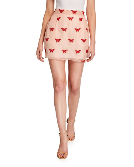 Butterfly Embroidered Mini Skirt