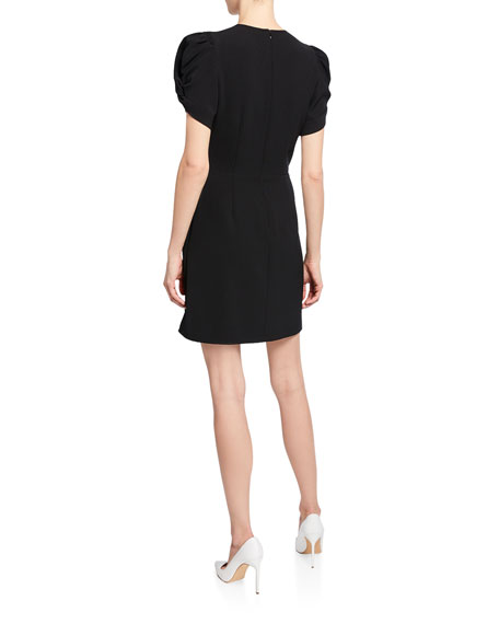 Brinley Crewneck Ruched-Sleeve Mini Dress