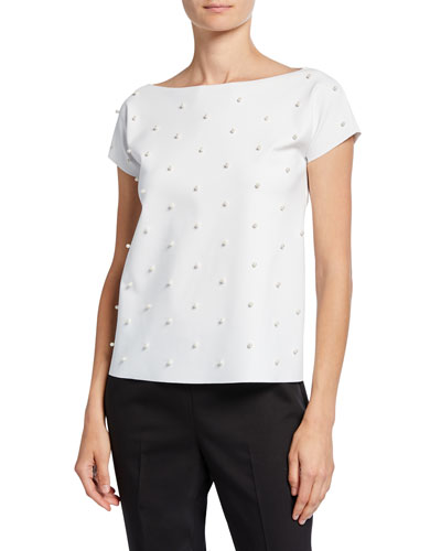 Anna Sofia Pearlescent Embellished Boat-Neck T-Shirt